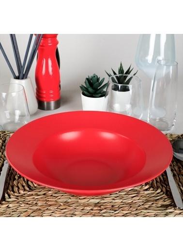 Keramika Delta Mat Kırmızı Bayrak Makarna Tabağı 26 Cm Renkli
